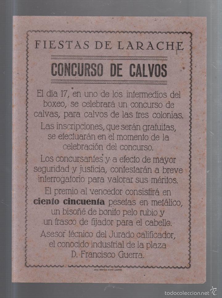 FIESTAS DE LARACHE. CONCURSO DE CALVOS. HUMOR. ARTES GRAFICAS BOSCA. 16 X 22CM (Coleccionismo - Carteles Pequeño Formato)