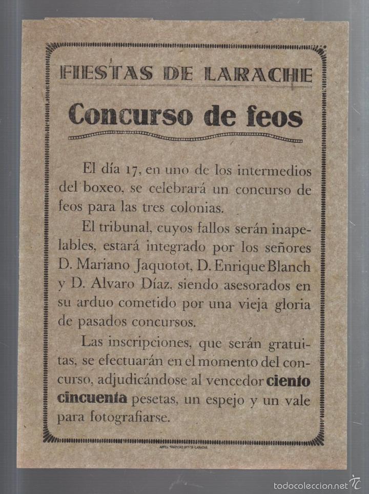 FIESTAS DE LARACHE. CONCURSO DE FEOS. HUMOR. ARTES GRAFICAS BOSCA. 16 X 22CM (Coleccionismo - Carteles Pequeño Formato)