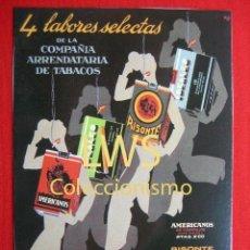 Colecionismo de cartazes: 4 LABORES SELECTAS DE LA COMPAÑIA ARRENDATARIA DE TABACOS - PUBLICIDAD IMAGENES - TABACO. Lote 56465515