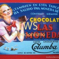 Coleccionismo de carteles: CHOCOLATES LAS MONEDAS - CAFÉS CHOCOLATES COLUMBA - MADRID - PUBLICIDAD IMAGENES. Lote 56516023