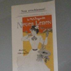 Collectionnisme d'affiches: NEUS LEBEN. CARTEL PUBLICITARIO DE EDITORIAL MODERNISTA. Lote 56723400