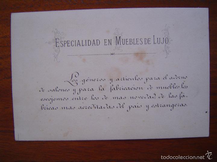 Coleccionismo de carteles: TARJETA - MUEBLES DE LUJO COSTA - TAPICERO ADORISTA - Litografiado - Canuda 29 - Barcelona - Foto 2 - 56854217