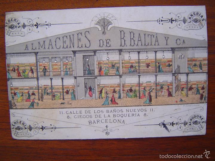 TARJETA - ALMACENES DE B. BALTÁ Y CIA - BAÑOS NUEVOS 11 - BARCELONA - SEDERIAS LANERIAS (Coleccionismo - Carteles Pequeño Formato)