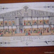 Coleccionismo de carteles: TARJETA - ALMACENES DE B. BALTÁ Y CIA - BAÑOS NUEVOS 11 - BARCELONA - SEDERIAS LANERIAS. Lote 56854421