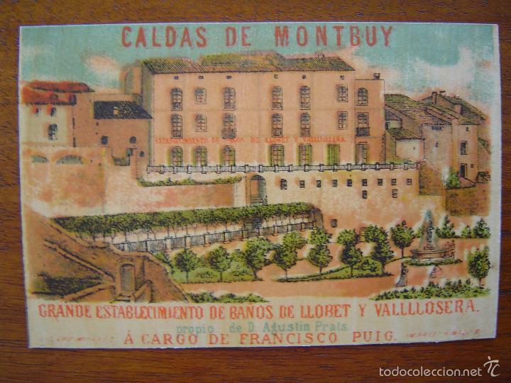 TARJETA - CALDAS DE MONTBUY ( CALDES MONTBUI ) - BAÑOS LLORET Y VALLLLOSERA - LITOGRAFIA (Coleccionismo - Carteles Pequeño Formato)