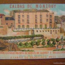 Coleccionismo de carteles: TARJETA - CALDAS DE MONTBUY ( CALDES MONTBUI ) - BAÑOS LLORET Y VALLLLOSERA - LITOGRAFIA. Lote 56854563