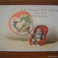 Coleccionismo de carteles: TARJETA DE ALMACENES DE LA VILLA DE LYON - NOVEDADES - JAIME I, 14 - BARCELONA - LITOGRAFIADO. Lote 56855063