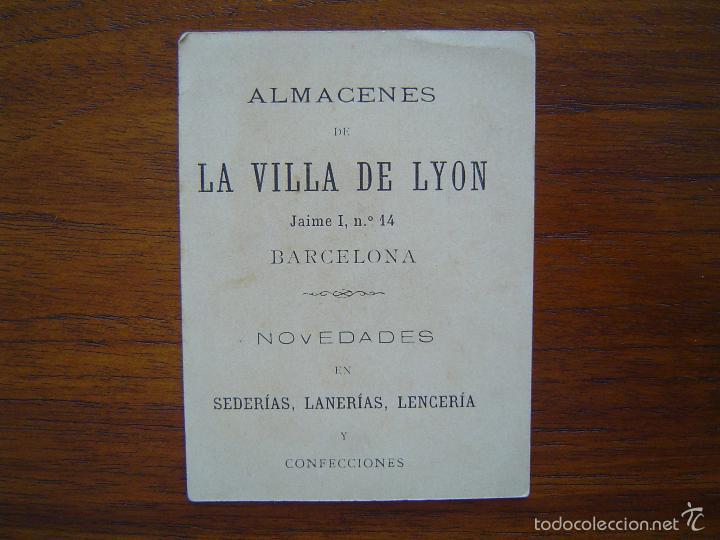 Coleccionismo de carteles: TARJETA de ALMACENES de LA VILLA DE LYON - NOVEDADES - Jaime I, 14 - BARCELONA - Litografiado - Foto 2 - 56855063
