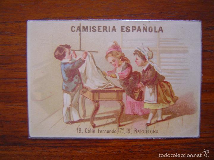 TARJETA CAMISERIA ESPAÑOLA - FERNANDO 7º, 19 BARCELONA - LITOGRAFIADO (Coleccionismo - Carteles Pequeño Formato)