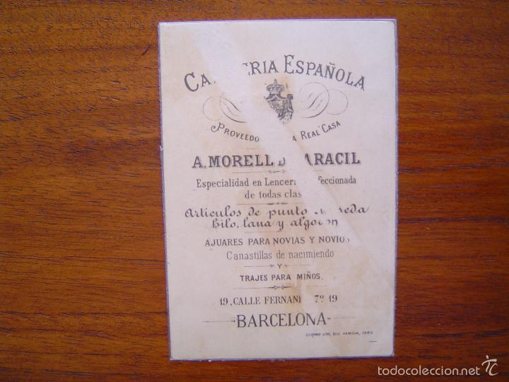 Coleccionismo de carteles: TARJETA CAMISERIA ESPAÑOLA - Fernando 7º, 19 BARCELONA - Litografiado - Foto 2 - 56855371