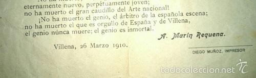 Coleccionismo de carteles: ¿ ES PRECISO ? HOMENAJE A CHAPI POR ANTONIO MARIN REQUENA VILLENA 1910 ALICANTE - Foto 2 - 56980458