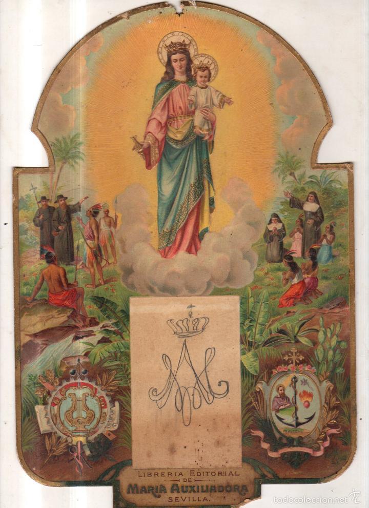 CARTEL TROQUELADO. SEVILLA. LIBRERIA EDITORIAL DE MARIA AUXILIADORA. 20 X 30CM (Coleccionismo - Carteles Pequeño Formato)