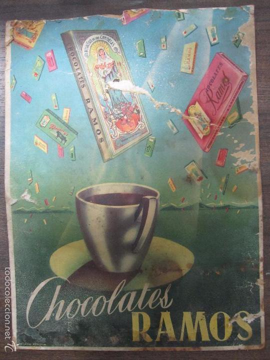 CARTEL PUBLICITARIO DE CARTÓN. CHOCOLATES RAMOS. 32 X 24,2 CM. (Coleccionismo - Carteles Pequeño Formato)