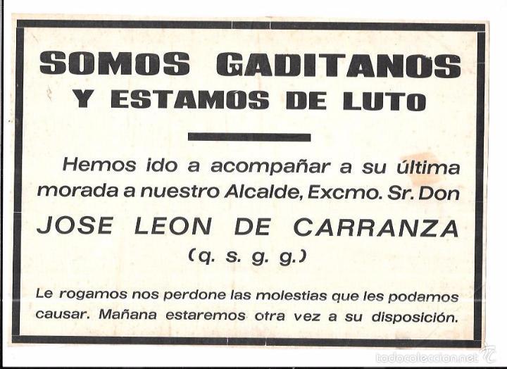 RECORDATORIO DEL ENTIERRO DE DON JOSE LEON DE CARRANZA. 19,2 X 28 CM (Coleccionismo - Carteles Pequeño Formato)