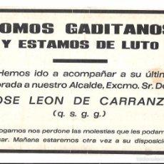 Coleccionismo de carteles: RECORDATORIO DEL ENTIERRO DE DON JOSE LEON DE CARRANZA. 19,2 X 28 CM. Lote 57359446