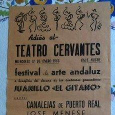Coleccionismo de carteles: ADIÓS AL TEATRO CERVANTES DE GRANADA 12 DE ENERO DE 1966. Lote 57479433