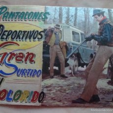 Coleccionismo de carteles: (TC-3) CARTEL CARTON ORIGINAL MONTAJE PANTALONES DEPORTIVOS GRAN SURTIDO Y COLORES AÑOS 60 70. Lote 57611043