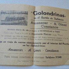 Coleccionismo de carteles: PEQUEÑO FOLLETO DE GOLONDRÍNAS EN EL PUERTO DE VALENCIA-CON DOS DIBUJOS ORIGINALES-21/VI/56-FIRMADO. Lote 57651700