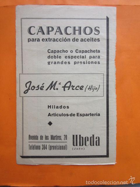 PUBLICIDAD 1947 - COLECCION INDUSTRIAS - UBEDA JAEN CAPACHOS ESPARTERIA JOSE MARIA ARCE (HIJO) (Coleccionismo - Carteles Pequeño Formato)