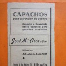 Coleccionismo de carteles: PUBLICIDAD 1947 - COLECCION INDUSTRIAS - UBEDA JAEN CAPACHOS ESPARTERIA JOSE MARIA ARCE (HIJO). Lote 57800723
