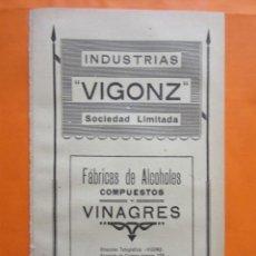 Coleccionismo de carteles: PUBLICIDAD 1947 - COLECCION INDUSTRIAS - LEON INDUSTRIAS VIGONZ VINAGRES Y ALCOHOLES COMPUESTOS. Lote 57800981