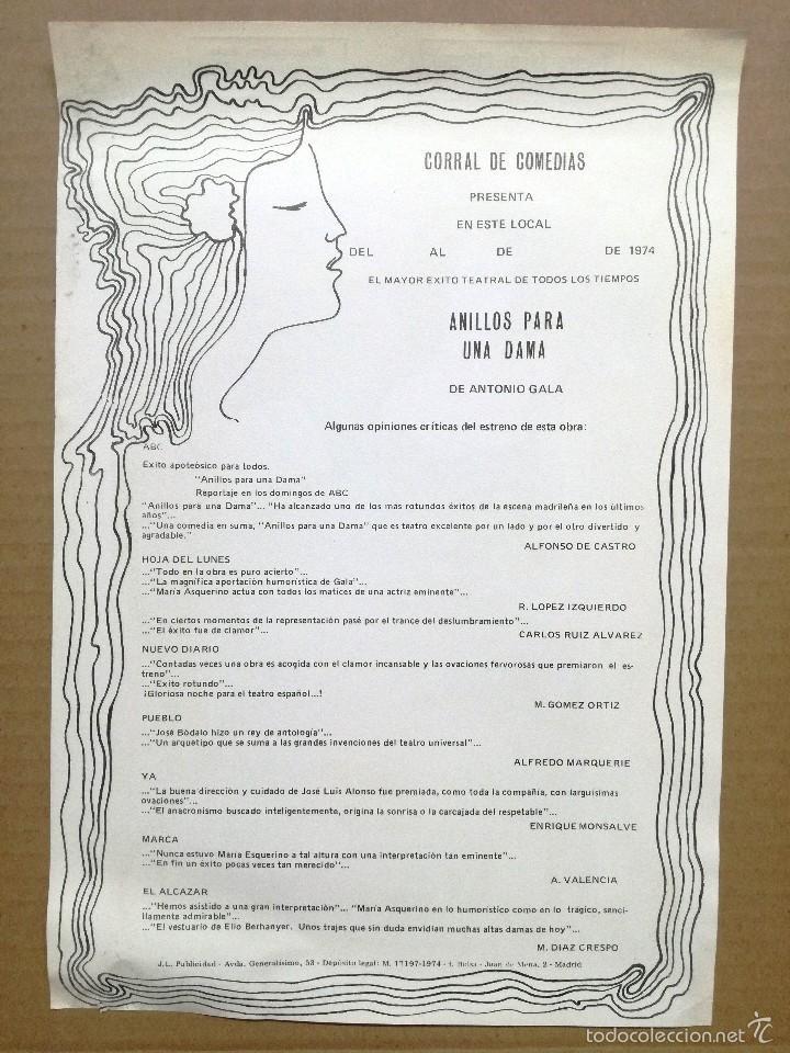 Coleccionismo de carteles: ANILLOS PARA UNA DAMA.TEATRO IDEAL CALAHORRA,LA RIOJA. - Foto 2 - 195367197