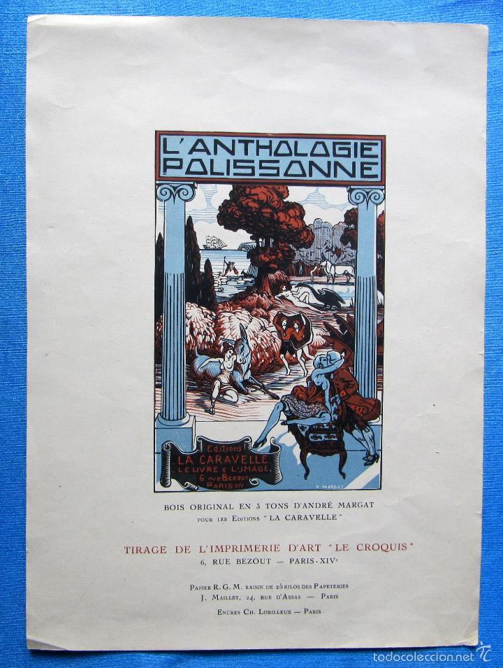CARTEL L'ANTOLOGIE POLISSONNE. GRABADO DE ANDRÉ MARGAT. ART DECO. EDITIONS LA CARAVELLE, 1927. (Coleccionismo - Carteles Pequeño Formato)