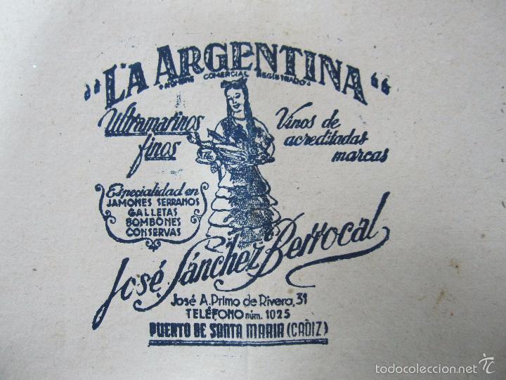 Coleccionismo de carteles: Cartel,Envoltorio de tienda,Puerto de Santa María,Cádiz,La Argentina,muy raro,ver las fotos - Foto 2 - 58124658
