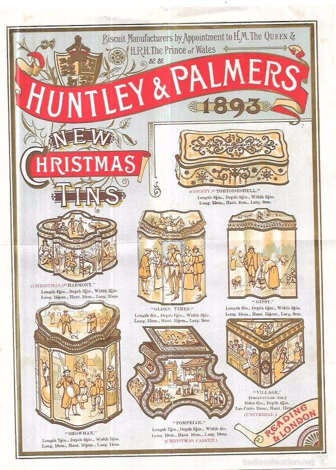 HUNTLEY & PALMERS, 1893. CROMOLITOGRAFIA DE CATÁLOGO DE CAJAS DE GALLETAS. 23,5 X 17,2 CM (Coleccionismo - Carteles Pequeño Formato)