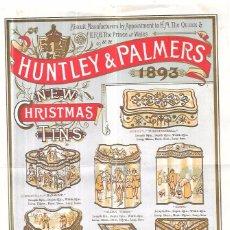 Coleccionismo de carteles: HUNTLEY & PALMERS, 1893. CROMOLITOGRAFIA DE CATÁLOGO DE CAJAS DE GALLETAS. 23,5 X 17,2 CM. Lote 58175388