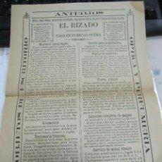 Coleccionismo de carteles: 1898. HUERCAL- OVERA, ALMERIA. 22 X 32CM. CARTEL PUBLICITARIO DE EL RIZADO. OPTICO ESPECIALISTA.. Lote 58359390