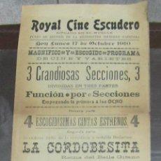 Coleccionismo de carteles: CARTEL. CINE ESCUDERO. CADIZ. 1910. LA CORDOBESITA, LA BELLA SAKY. LEER. 16 X 44CM. Lote 58374933