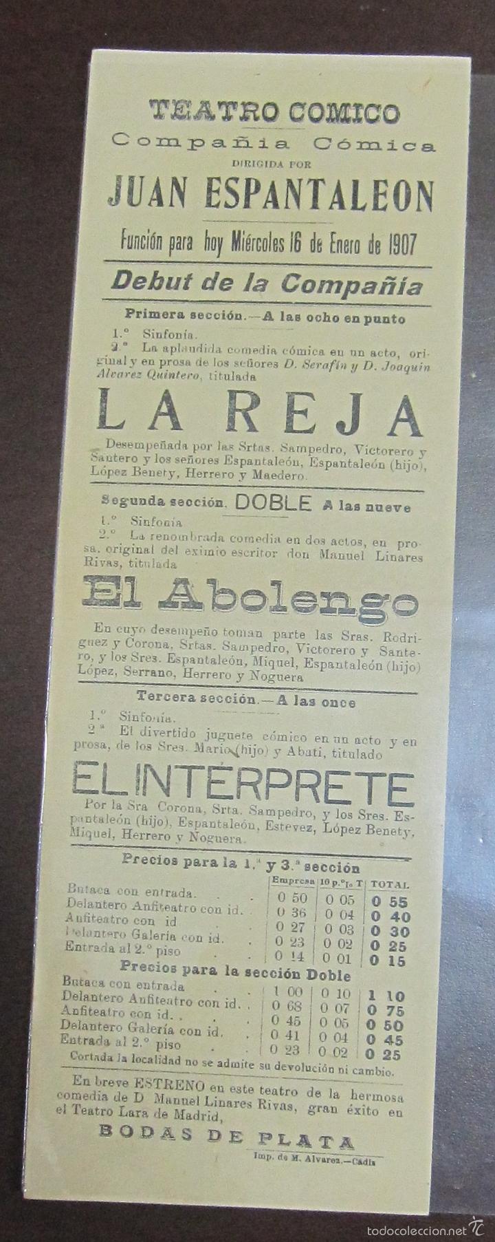 CARTEL. TEATRO COMICO. JUAN ESPANTALEON. 1907. LA REJA, EL ABOLENGO, EL INTERPRETE. LEER. 30 X 10CM (Coleccionismo - Carteles Pequeño Formato)