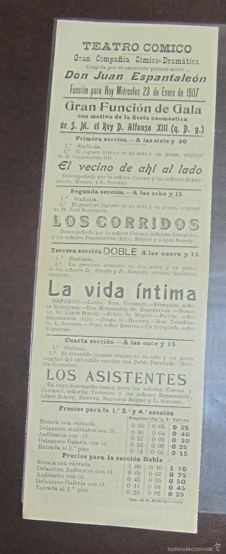CARTEL. TEATRO COMICO. JUAN ESPANTALEON. 1907. LOS CORRIDOS, LA VIDA INTIMA. LEER. 30 X 10CM (Coleccionismo - Carteles Pequeño Formato)