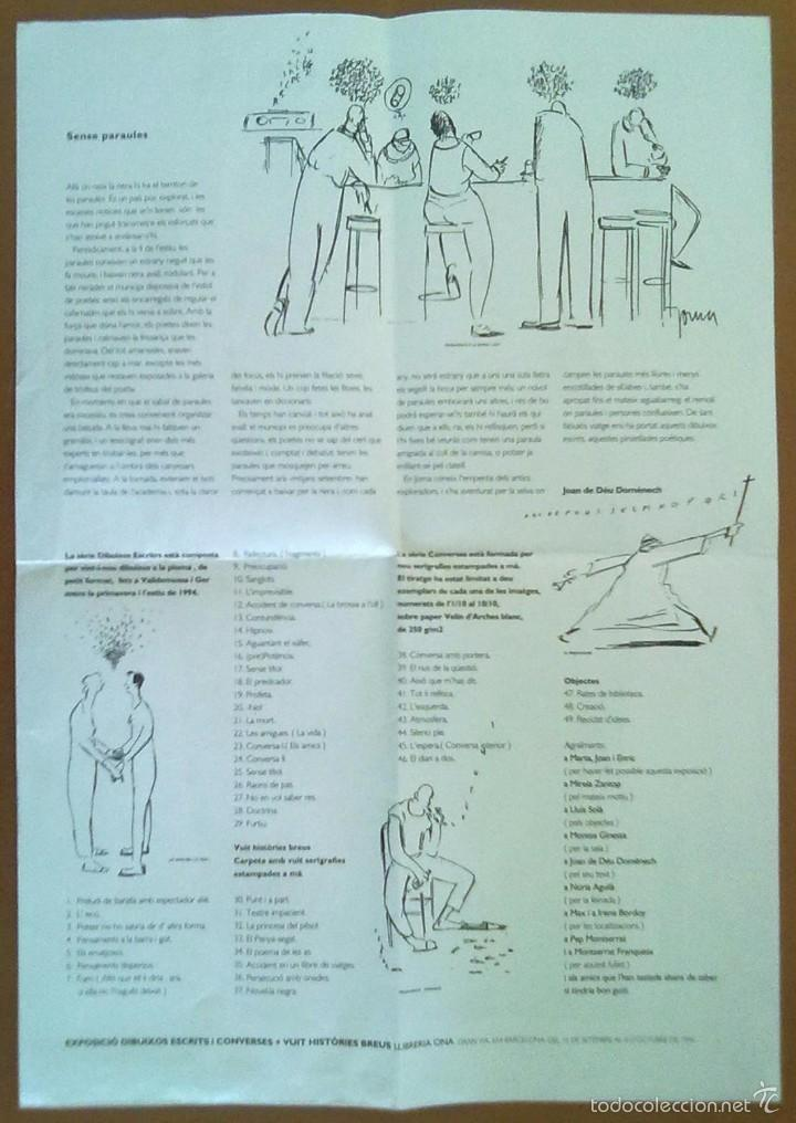 Coleccionismo de carteles: CARTEL PROGRAMA DIBUIXOS ESCRITS JOMA EXPOSICIO LLIBRERIA ONA BARCELONA 1994 - Foto 2 - 58978430