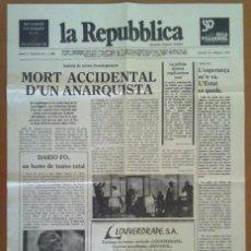 Coleccionismo de carteles: CARTEL PROGRAMA TEATRO MORT ACCIDENTAL D'UN ANARQUISTA DARIO FO SALA VILLARROEL BARCELONA 1979. Lote 58978715
