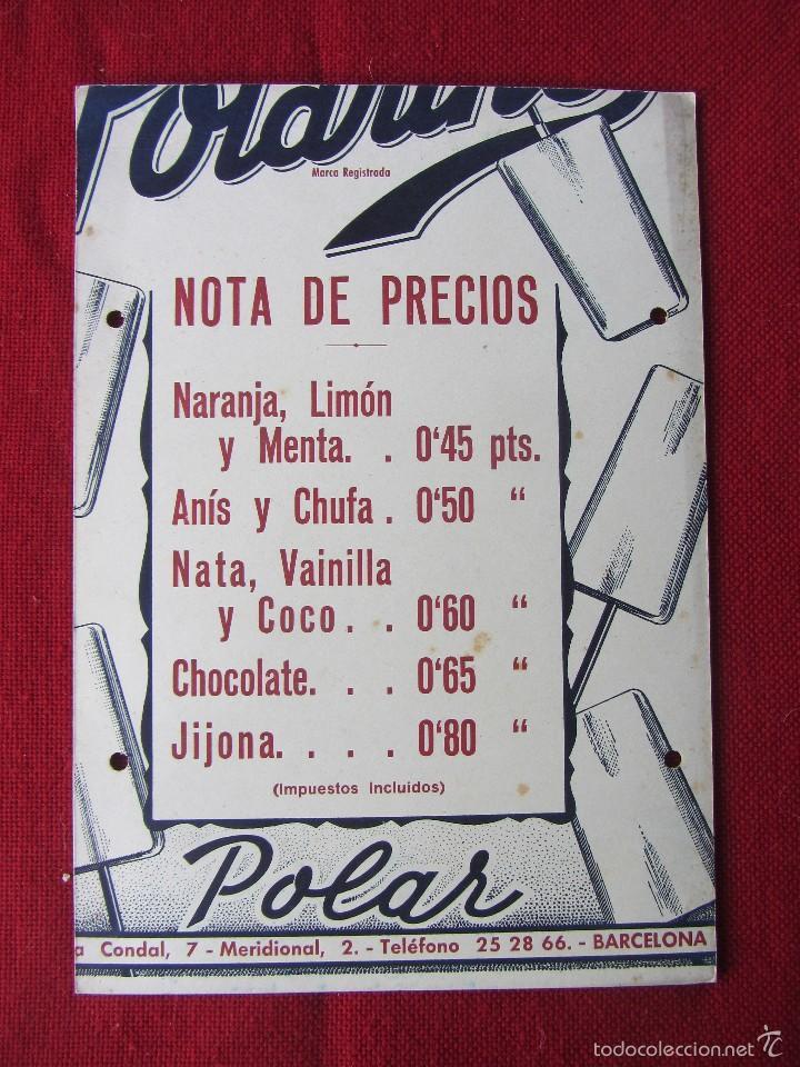 CARTEL NOTA DE PRECIOS HELADOS POLAR. CARTÓN DURO AÑOS 60-70 (Coleccionismo - Carteles Pequeño Formato)
