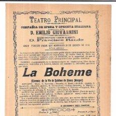 Coleccionismo de carteles: CADIZ, TEATRO PRINCIPAL. 1903. OPERA EMILIO GIOVANNINI. 21 X 16 CM. Lote 60499547
