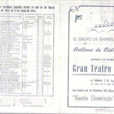 Coleccionismo de carteles: CADIZ. TEATRO FALLA. 1944. PROGRAMA DE LA BOTADURA DEL BUQUE SANTO DOMINGO. COMEDIA, FIN DE FIESTA. Lote 60499863