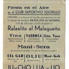 Coleccionismo de carteles: PROGRAMA. MELILLA. CLUB DEPORTIVO TESORILLO. CIRCO, BAILE, SAMBA. 1944. Lote 60500123