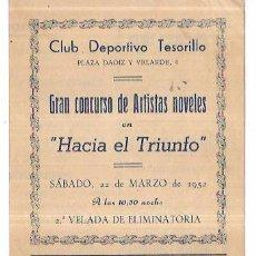 Coleccionismo de carteles: MELILLA, CLUB DEPORTIVO TESORILLO. GRAN CONCURSO DE ARTISTAS NOVELES. 1952. PUBLICIDAD.. Lote 60500279