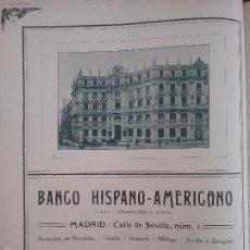 Coleccionismo de carteles: BANCO HISPANO -AMERICANO MADRID AÑO 1910 HOJA PUBLICIDAD. Lote 60700143