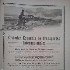 Coleccionismo de carteles: SOCIEDAD ESPAÑOLA DE TRANSPORTES INTERNACIONALES MADRID.AÑO 1910.HOJA PUBLICIDAD. Lote 60709459