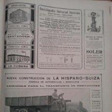 Coleccionismo de carteles: HISPANO-SUIZA FÁBRICA DE AUTOMÓVILES BARCELONA.AÑO 1910.HOJA PUBLICIDAD. Lote 61620272