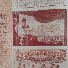 Coleccionismo de carteles: CHOCOLATES Y DULCES DE MATÍAS LOPEZ.MADRID.ESCORIAL.AÑO 1910.HOJA PUBLICIDAD. Lote 61620584