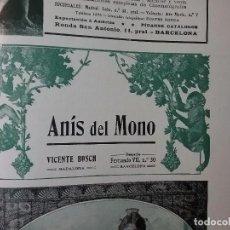 Collezionismo di affissi: ANIS DEL MONO VICENTE BOSCH BADALONA AÑO 1910.HOJA REVISTA . Lote 62023648