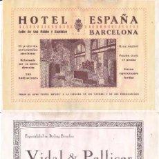 Coleccionismo de carteles: LITOGRAFIA AÑOS 20 - HOTEL ESPAÑA – VIDAL & PELLICER / SASTRES. Lote 62250128