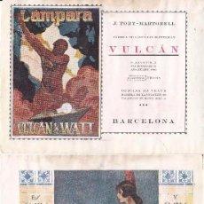 Coleccionismo de carteles: LITOGRAFIA AÑOS 20 - JABON FLORES DEL CAMPO – VULCAN / LAMPARAS. Lote 62250484