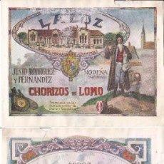 Coleccionismo de carteles: LITOGRAFIA AÑOS 20 - JUSTO RODRIGUEZ Y FERNANDEZ / CHORIZOS DE LOMO – ESTELA / ARROZ. Lote 62250556