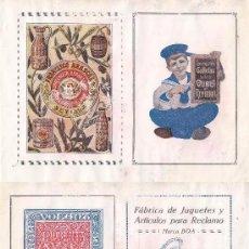 Coleccionismo de carteles: LITOGRAFIA AÑOS 20 - LA ACADEMICA / IMPRENTA – KORA,S.S. / JUGUETES – FRANCISCO ABASCAL / ACEITUNAS . Lote 62250620